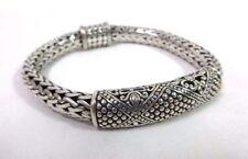 Heavy Sterling Silver 925 9mm Wide Bali Style Snake Wheat Chain Bracelet -7 3/4