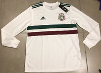 NWT Men's Adidas Mexico 2018 Longsleeve Sz L Authentic Away Soccer Jersey White
