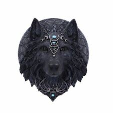 More details for nemesis now dark wolf jewelled black wolf moon blue wall plaque art 30cm gothic