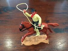 Timpo 2nd Series Mounted Cowboy -  Cream Lasso -1960's