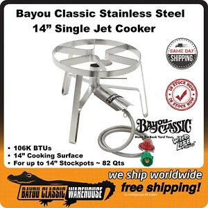 """Bayou Classic Stainless SS1 Single Jet 14"""" Cooker 106K BTU Up to 82 Qt Stockpots"""