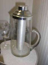 RARE Vintage Deco Water Pitcher with frozen ice chamber clear & silver coated