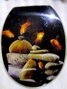 Loo with a View - Goldfish, Black Poly Resin Decor Toilet Seat, EU110