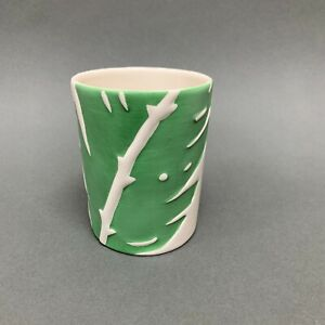 Newport Cup Cream Green Leaves Toothbrush Holder