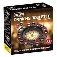 Roulette Wheel Adult Party Drinking Game Set Spin Casino 16 Shot Glass Stag Hen
