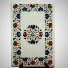 White Marble Coffee Center Table Top Lapis Lazuli Carnelian Inlay Floral Arts