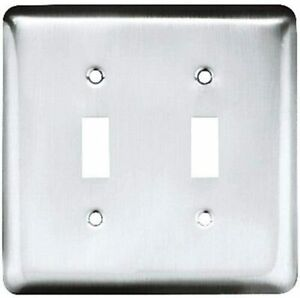 Brainerd W10246-PC Chrome Stamped Double Switch Wall Cover Plate