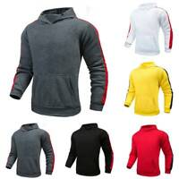 Men Long Sleeve Hoodie Sweatshirt Sports Gym Pockets Pullover Hooded Tops Casual