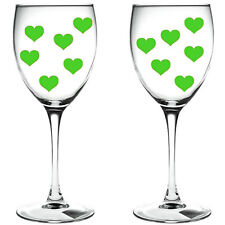 80 x green hearts / hearts WINE GLASS/ VINYL STICKERS / DECAL xmas festive
