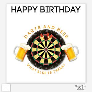 DARTS & BEER BIRTHDAY CARD Dartboard Alcohol Beer Glass