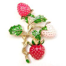 Strawberry Red Pink Fruit Green Leaf Gold Vine Lovely Vintage Brooch Pin Gift