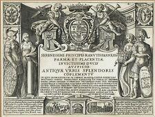 Original 1615 engraved frontis for Giacomo Lauro's Antiquae Urbis Splendor