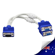 VGA Male to Dual 2 VGA Female Monitor TV Cable Splitter Adapter - NEW
