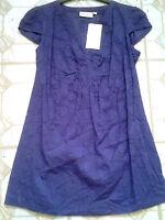 Adini 100% cotton paisley dobby weave cap sleeve tunic topV neck