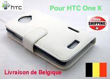 2013 HTC One X pochette flip cuir Blanc - White leather flip case TOP QUALITÉ