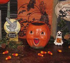 Primitive Antique Vtg Style Halloween Paper Mache Jack-O-Lantern Pumpkin Bucket