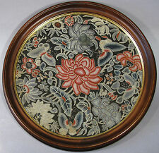 A Very Fine Chinese Embroidered Silk Kesi Roundel with Wood Panel-19th C.