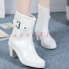 New Womens Pointy Toe Mid Block Heel Buckle Ankle Boots Shoes Rainy Waterproof