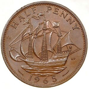GREAT BRITAIN 1/2 Penny Half Penny 1965 №5888