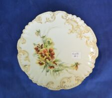 Limoges France Pansies Plate with Scalloped Intricate Gold Gilt Decorated Border
