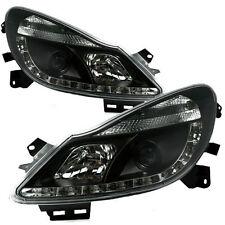 Nero Brillante Xenon LED DRL PROIETTORE FARI ANTERIORI Per Vauxhall Corsa D 06-11