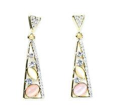 Triangular Dangle Ear Stud Gems Boho Gold Tone Earrings Crystal Style Drop Down