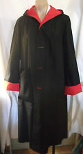 70-80s SzL Red & Black Reversible Hooded All Weather Coat w/Belt by Mulberry St.