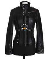 Madison Black Ladies Women's New Short Retro Real Soft Lambskin Leather Jacket