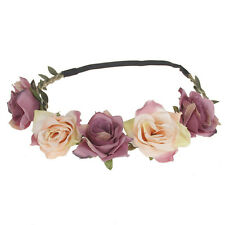 Women Girls Rose Flower Garland Beach Bride Hair band Wedding Hair Accessories