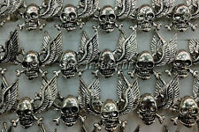 lots 5X OutSize Gothic Skull Carved Biker Angle Wings Men's Anti-Silver Rings