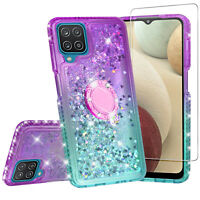 Cover for Samsung Galaxy A12 Case Hybrid Liquid Glitter Diamond Bling w/ Glass