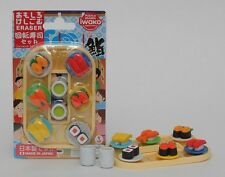 1 x IWAKO Sushi Go Round (Sushi Train) 8 mini Puzzle Eraser Set on Card