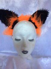 The Cheshire Cat Fancy Dress Ears Bright Orange & Black Cat Ears Costume Ears