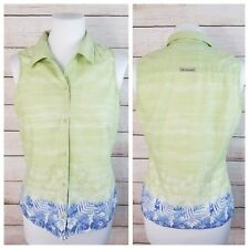 Columbia S Sleeveless Button Down Blouse Lime Green Blue Floral 100% Cotton
