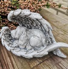 Grabschmuck Hundefigur Hund Engelsflügel Figur Dekofigur Dog Grabfigur Tiergrab