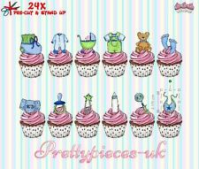 Boys Baby Shower 24 Stand-Up Pre-Cut Wafer Paper Cup cake Toppers