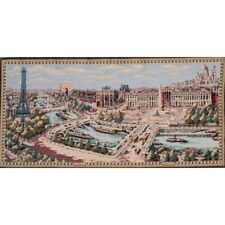 GORGEOUS FRENCH TAPESTRY GOBELIN PANORAMIC VIEW OF PARIS WOVEN IN FRANCE