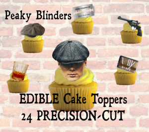24 PEAKY BLINDERS SHELBY Edible Cake Toppers,THICK Wafer Card,~PRECISION-CUT~