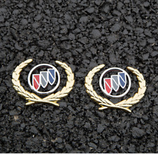 2pc 3D Zinc Alloy Gold Wheat Logo Fender Side Trunk Emblem Decal Badge for Buick