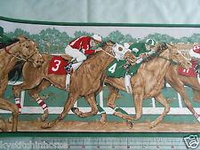 Horse Racing Wallpaper Border - Stylized Hunter Green - York - DISCONtTINUED