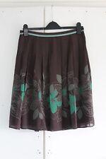 Size 2 UK 10 TED BAKER 100% Silk Skirt Flippy Brown Green (195)