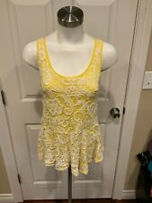 Meadow Rue Anthropologie Yellow Peplum Tank Top w/ White Lace Overlay, Size XS
