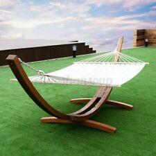 New listing 10ft Double Hammock Stand Hardwood Wood Curved Arc Outdoor 2Person Hammock Stand