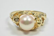 14k Yellow Gold Pink 7 mm Pearl & Diamond Cocktail Ring .05 ct Round Size 7.5