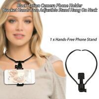 Hang On Neck Action Camera Hands Free ABS Bracket Mount Stand Phone Holder Black