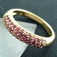 853 GENUINE REAL 18K YELLOW G/F GOLD LADIES RUBY ETERNITY DIAMOND SIMULATED RING
