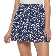 SO Juniors Navy Floral Zip-Front Skater Skirt Size XXL NWT