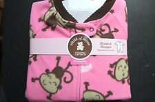 Child of mine girls sleeper blanket sleepwear pink monkeys NWT 18mo
