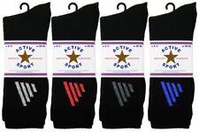 Men's Premier Qualität Active 4 Stripe Cotton Rich Black Sport 3 Pairs Gym Socks