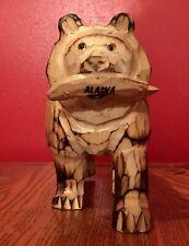 Alaska Bear w Salmon Wood Carving Hand-Carved Souvenir of Alaska - Shipping Inc.